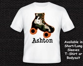 Personalized Roller Skating T-Shirt or Bodysuit - Girl or Boy - Camouflage Pattern - Pink and Green