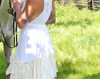 shabby chic non traditional lace  alternative wedding dress size 4 to 10