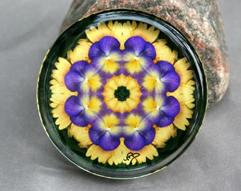 Glass Paperweight Purple Pansy Mandala Sacred Geometry Boho Chic Hippie Kaleidoscope Mod Unique Boss Gift Teacher Gift  Blissful Beliefs