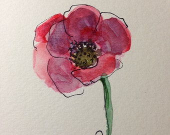 Red Poppy Watercolor Card