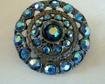 Vintage Royal Blue Aurora Borealis Lusted Large Rhinestones Circle Pin Gorgeous 1940