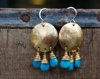 Turquoise Jewelry, Bronze Earrings, Boho Jewelry, Gift for Her