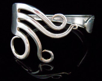 Unique Recycled Silver Fork Bracelet in Original Whimsical Circles Design Number Five
