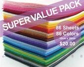 SUPER VALUE PACK All 86 Colors Collection Plain Felt Sheets - 10cm x 20cm - Free Patterns upon Request