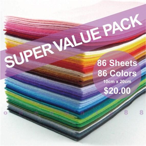 SUPER VALUE PACK All 86 Colors Collection Plain Felt Sheets - 10cm x 20cm