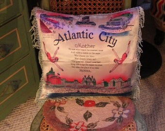 SALE- Antique Atlantic City Souvenir Pillow Slip Cover, 1940's Home Decor, Home & Living, Collectible Pillow Cover, Vintage Shore Souvenir