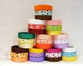 """30 Yards Assorted Dot Ribbons and Matching Solid Ribbons (set B) - 3/8"""" Grosgrain"""