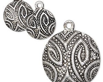 Set of 3 Charms Pendant Antiqued Pewter Set 13mm and 25mm Flat Round Paisley Design