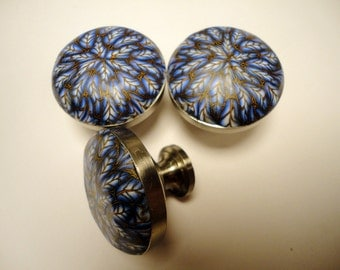8 Polymer ClayCabinet Knobs/Pulls  16 Available Blue Leaves  Polymer Clay over Metal     choice of 2 finishes