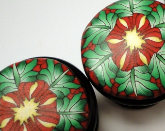 Eight  Cabinet Knobs Pulls  Polymer Clay over Satin Black Metal   Cream Green and Wine