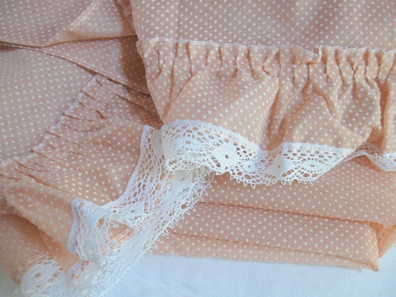 JC Penney Vintage Curtains Peach Semi Sheer Ruffled Window Panels