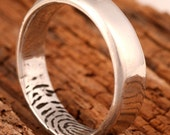 Sterling Silver Wedding Ring with Fingerprint on the Inside