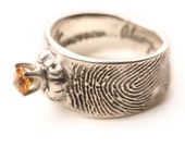 Citrine Mineral GemStone Fingerprint Wedding ring with Actual Handwriting Jewelry