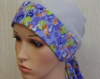 cotton head scarf, chemo head wrap, cancer headwear, cotton scrub cap, chemo bonnet, hair loss head wrap, alopecia headscarves