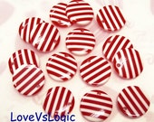 10 Lucite Bead Charms. Red and White Stripes.