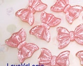 4 Glitter Ribbon Bow with Dots Lucite Cabochons.Pink Tone
