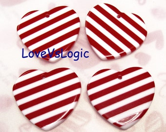 4 Huge Heart Lucite Charms. Dark Red and White Stripes. 03