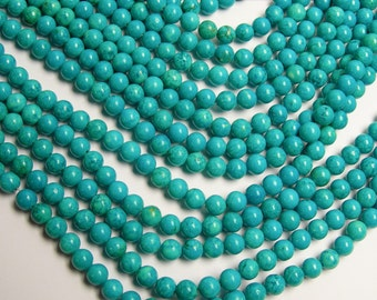 Howlite turquoise -  6mm beads -  full strand -  67 pcs - A Quality - RFG205