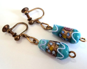 Antique Turquoise Glass Earrings... Venetian Wedding Cake Aventurine  Beads