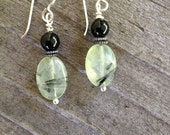 EARRINGS, PREHNITE, ONYX, Black 6mm Onyx, Oval Faceted Prehnite, Green, Black, Sterling Filled Silver,