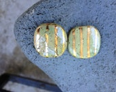 DESTASH, KAZURI BEAD, 2 Beads, African, 24K Gold, Ceramic, One of a Kind Bead, 20mm. Stripes