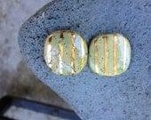 DESTASH, KAZURI BEAD, 2 Beads, African, 24K Gold, Ceramic, One of a Kind Bead, 20mm. Stripes