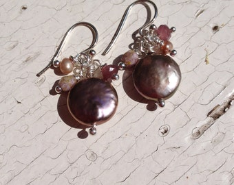 EARRINGS, FRESHWATERPEARLS, FIREPOLISH, Faceted Rounds, Purple, Copper, Dangles
