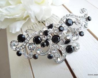 Bridal Black Swarovski Crystal Wedding Comb Wedding Hair Accessories Vintage Style Black Leaf Rhinestone black Bridal Hair Comb KENDRA