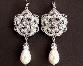Bridal Pearl Earrings Bridal Earrings Rhinestone Earrings Ivory Swarovski Pearls crystal chandelier Earrings Statement Earrings ROSELANI