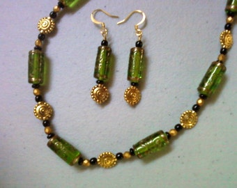 Olivine Green, black and gold necklace and earrings (0318)