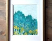 Original Acrylic painting   Abstract  Fine Art Modern Contemporary Art   mint green yellow