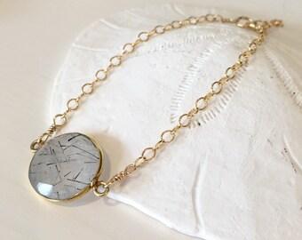 Rutilated quartz bezel set bracelet/ bezeled rutilated quartz bracelet/ gemstone bracelet/ Dainty Rutilated Quartz bracelet