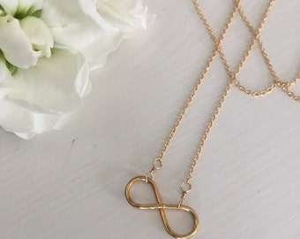 Eternity necklace/ Bridal / bridesmaid gift / 14k Gold filled or Sterling Silver Eternity necklace / bridal infinity necklace