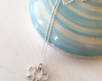 Tiny lotus charm necklace / sterling silver lotus / lotus outline charm necklace