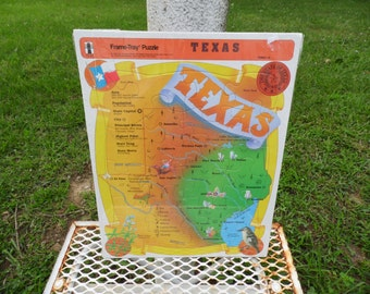 Texas Puzzle Frame Tray Puzzle 1992 The Rainbow Works 23 piece puzzle of the state of Texas Austin El Paso Dallas Waco Amarillo Lubbock