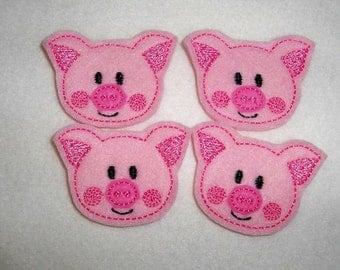 Feltie Machine Embroidered Hand made (4) Felt Pig CUT Embellishments / appliques