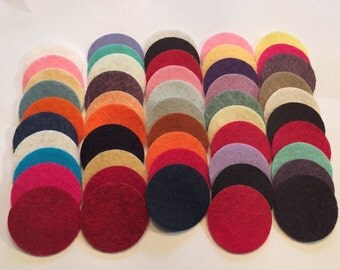 Wool Felt Circle Die Cuts 50 - 1 1/4 inch Random Colored. 2689