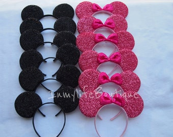 Lot of 20 Mickey & Minnie Mouse Ears Black and Pink Bow Shimmer Headband Sequin Birthday