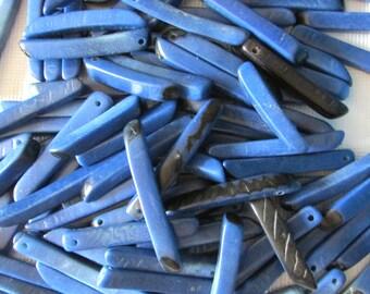 20 Navy or Monaco Blue, Tagua Sticks, Square Sticks, Vegetable Ivory, EcoBeads