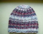 Hand Knit Adult Cable Beanie, Cute And Unique Hand Knit Hat, Striped Beanie - Color Plum