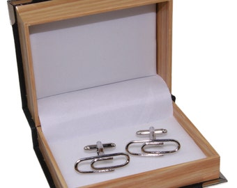 Men's Paper Clips Cufflinks Cuff Links and Gift Box