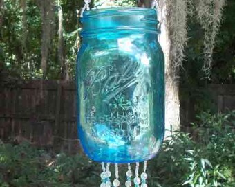 Aqua Pint Sized Ball Canning Jar, Repurposed and Upcycled into a Windchime, Luminaria, with Stained Glass Chimes