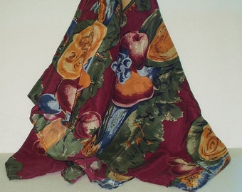 Vintage Silk Scarf Maroon Novelty Fruit Print Retro Fashion Head Scarf Neck Purse Kerchief Scarf Accessory
