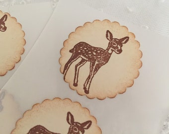Deer Stickers Baby Shower Envelope Seals Woodland Forest Stickers Set of 10