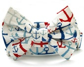 Nautical Bow Tie Dog Collar with Nickel Plate Hardware - 1.5 Inch Width