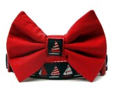 Nautical Sailboats Bow Tie Dog Collar in Navy Blue Red and White