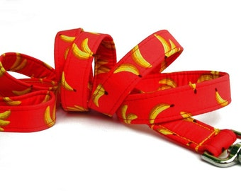 Banana Dog Leash in Red and Yellow