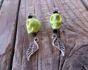 Lime Green Glass Skulls with Silver Wings