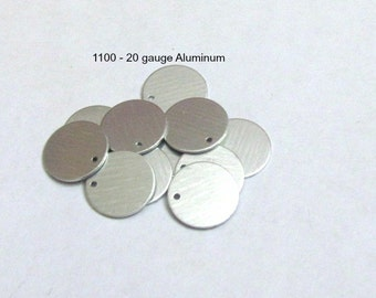 """5/8"""" 1100 aluminum - 20 gauge -  Premium Tumbled -Easy to use Hand stamping metal blanks with holes punched - Fast shipping"""