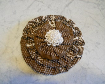 Fabric Flower made from a Bandanna in Chocolate Brown and White